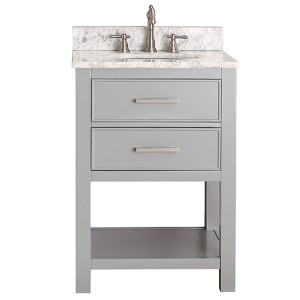 Brooks Chilled Gray 24-Inch Vanity Combo with Carrera White Marble Top