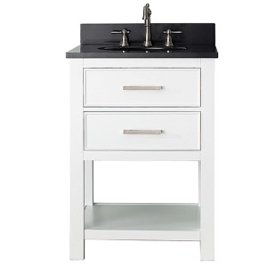 Brooks White 24-Inch Vanity Combo with Black Granite Top