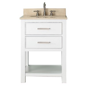 Brooks White 24-Inch Vanity Combo with Galala Beige Marble Top