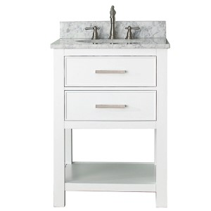 Brooks White 24-Inch Vanity Combo with Carrera White Marble Top