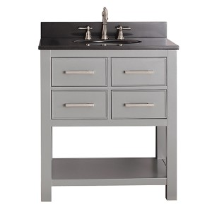 Brooks Chilled Gray 30-Inch Vanity Combo with Black Granite Top