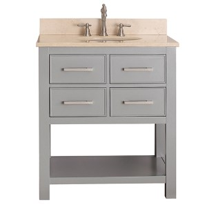 Brooks Chilled Gray 30 Inch Vanity Combo With Galala Beige Marble Top