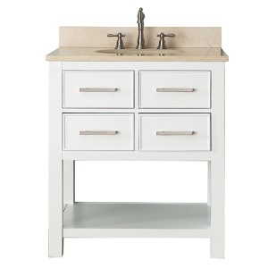 Brooks White 30-Inch Vanity Combo with Galala Beige Marble Top