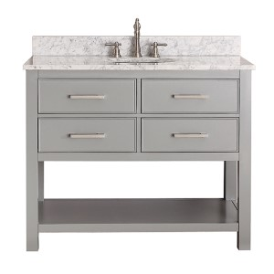 Brooks Chilled Gray 42-Inch Vanity Combo with Carrera White Marble Top