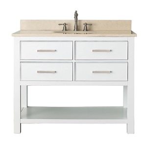 Brooks White 42-Inch Vanity Combo with Galala Beige Marble Top