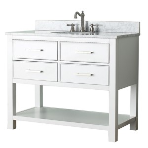 Brooks White 42-Inch Vanity Combo with Carrera White Marble Top