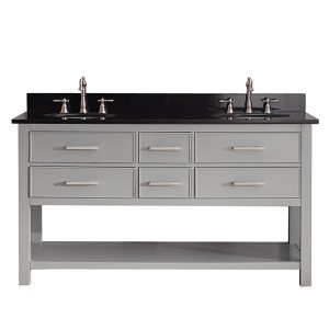 Brooks Chilled Gray 60-Inch Vanity Combo with Black Granite Top