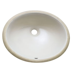 Undermount 18-Inch Oval Off White Vitreous China Ceramic Sink