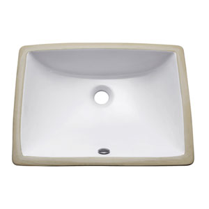 Undermount 20-Inch Rectangular Vitreous China Sink in White