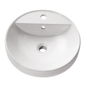 Semi Recessed 18-Inch White Round Vitreous China Sink