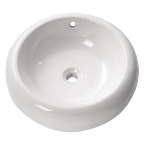 Above counter 20-Inch White Round Vitreous China Sink