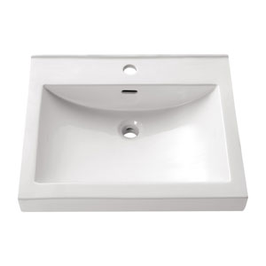 Semi Recessed 22-Inch White Rectangular Vitreous China Sink