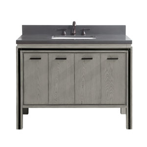 Dexter 43 inch Vanity Combo in Rustic Gray with Gray Quartz Top