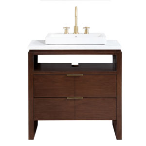 Giselle Natural Walnut 33-Inch Vanity Combo