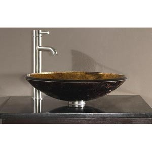 Tempered Glass Vessel Sink - Metallic Copper