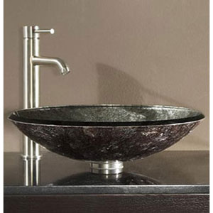 Tempered Glass Vessel Sink - Metallic Silver