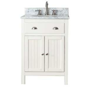 Hamilton French White 24-Inch Vanity Combo with White Carrera Marble Top