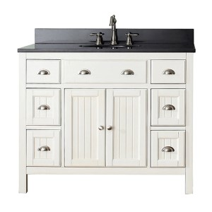 Hamilton French White 42-Inch Vanity Combo with Black Granite Top