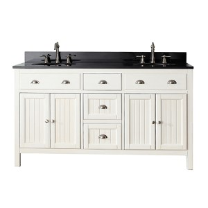 Hamilton French White 60-Inch Vanity Combo with Black Granite Top