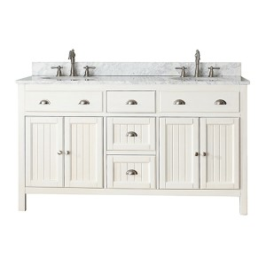 Hamilton French White 60-Inch Vanity Combo with White Carrera Marble Top