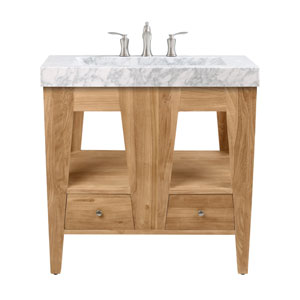 Jameston 33 inch Vanity in Natural Teak with Carrara Marble Top