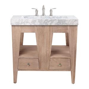 Jameston 33 inch Vanity in Rustic Teak with Carrara Marble Top