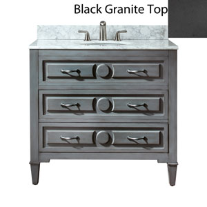 Kelly 36-Inch Grayish Blue Vanity with Black Granite Top