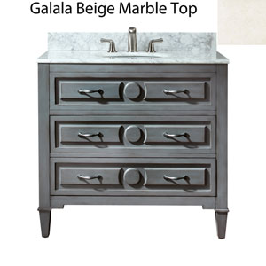 Kelly 36-Inch Grayish Blue Vanity with Galala Beige Marble Top