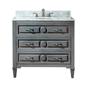Kelly 36-Inch Grayish Blue Vanity with Carrera White Marble Top