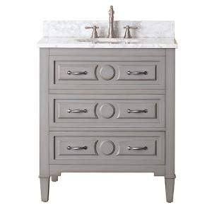 Kelly Grayish Blue 30-Inch Vanity Combo with White Carrera Marble Top