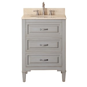 Kelly Grayish Blue 24-Inch Vanity Combo with Galala Beige Marble Top