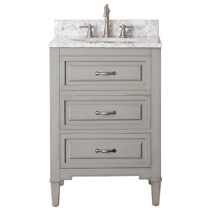 Kelly Grayish Blue 24-Inch Vanity Combo with White Carrera Marble Top