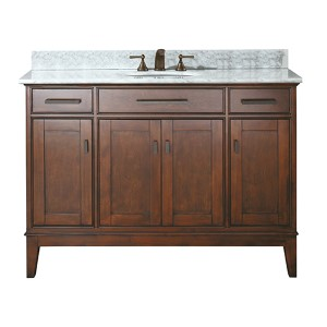 Madison Tobacco 48-Inch Sink Vanity with Carrera White Marble Top