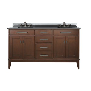 Madison Tobacco 60-Inch Double Sink Vanity with Black Granite Top