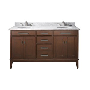 Madison Tobacco 60-Inch Double Sink Vanity with Carrera White Marble Top