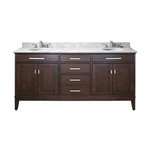 Madison Light Espresso 72-Inch Double Sink Vanity with Carrera White Marble Top