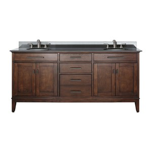 Madison Tobacco 72-Inch Double Sink Vanity with Black Granite Top