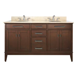 Madison 60-Inch Tobacco Vanity with Beige Marble Top and Two Sinks