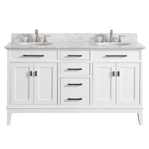 Madison White 61-Inch Double Sink Vanity Combo