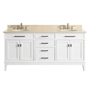 Madison White 73-Inch Double Sink Vanity Combo