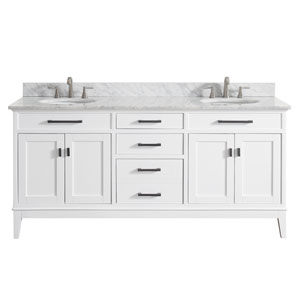 Madison White 73-Inch Double Sink Vanity Combo