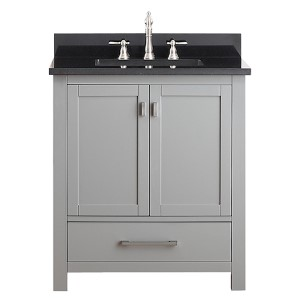 Modero Chilled Gray 30-Inch Vanity Combo with Black Granite Top
