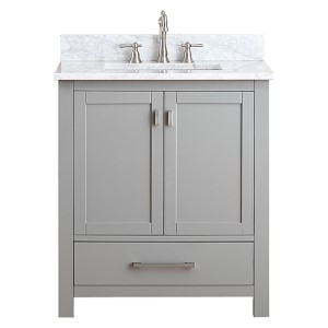 Modero Chilled Gray 30-Inch Vanity Combo with White Carrera Marble Top