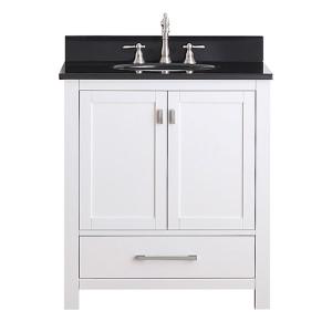 Modero White 30-Inch Vanity Combo with Black Granite Top