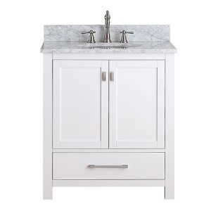 Modero White 30-Inch Vanity Combo with White Carrera Marble Top
