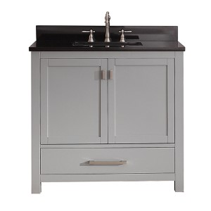 Modero Chilled Gray 36-Inch Vanity Combo with Black Granite Top