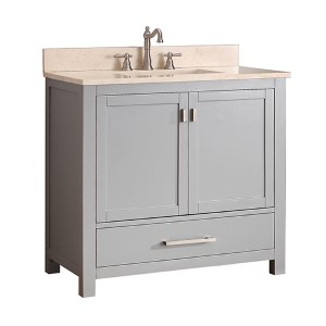 Modero Chilled Gray 36 Inch Vanity Combo With Galala Beige Marble Top