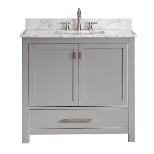 Modero Chilled Gray 36-Inch Vanity Combo with White Carrera Marble Top