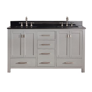 Modero Chilled Gray 60-Inch Double Vanity Combo with Black Granite Top