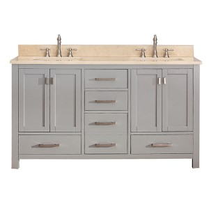 Modero Chilled Gray 60-Inch Double Vanity Combo with Galala Beige Marble Top